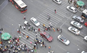 Crossing the street in China, be careful!