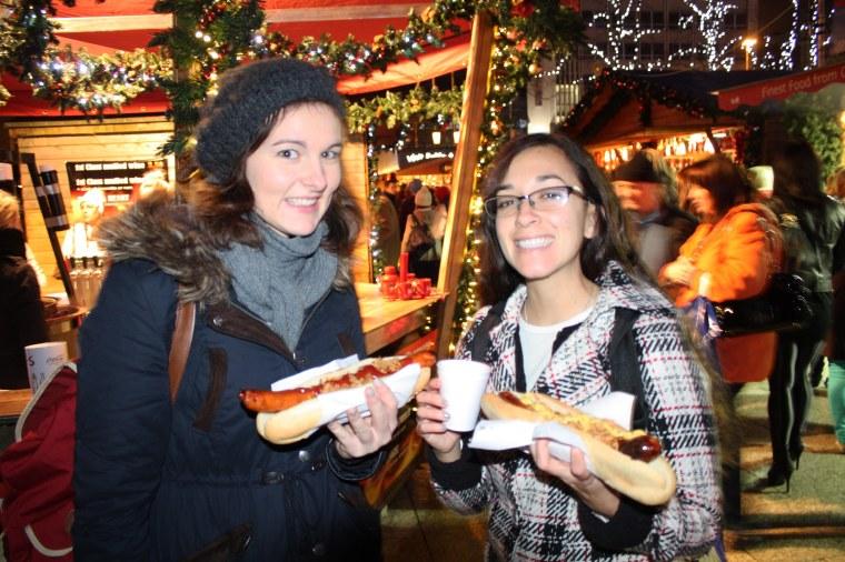Enjoying a German tradition: Bratwurst!