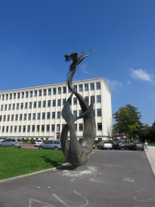 The statue on the main quad of the campus. It's a phoenix, as the university and the city of Caen have undergone several reincarnations over the last several hundred years.