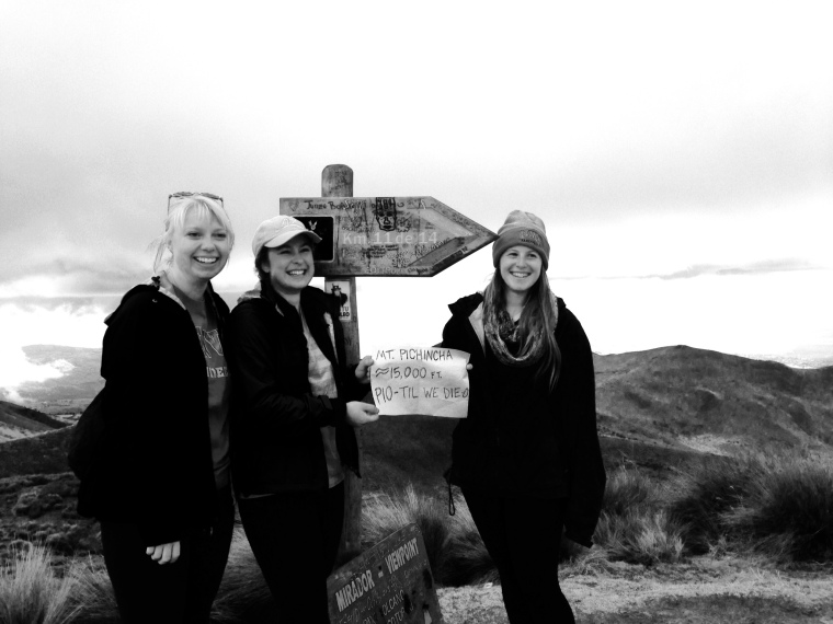 Take that 14ers! 9000ft weren't enough for us, we needed even higher altitude. Volcano Pichincha in Quito, Ecuador. (Maddie Doering, Aimee Schneider, Emma Kaplan - MSID Ecuador 2014)