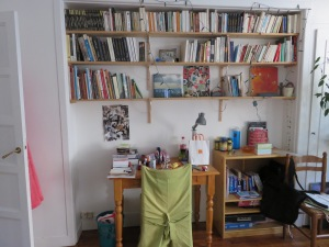 My bookcase in my room at my homestay.