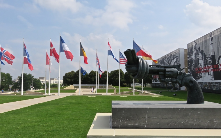 Statue outside of the Mémorial de Caen, a museum and memorial of WWII.