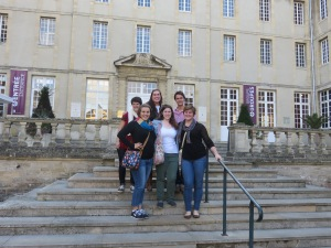 Academic Programs International Group in front of the Bayeux Tapestry museum.