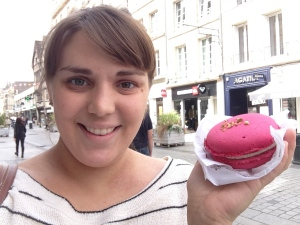 Me and the most delicious and beautiful macaron ever (raspberry and pistachio - framboise/pistache).