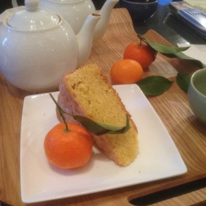 Orange saffron cake and Earl Grey tea from Memoranda, my favorite little bookshop/café in Caen.